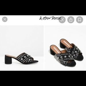 & Other Stories Studded Suede Criss Cross Slide